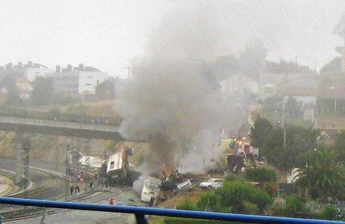 Accidente ferroviario en Santiago de Compostela.