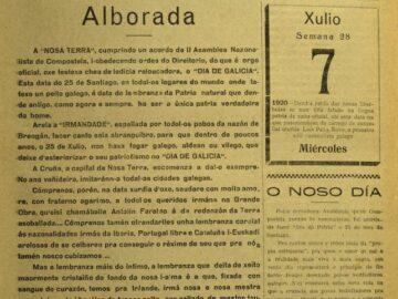 A Nosa Terra do 25 de xullo de 1920 convócase por vez primeira a celebración do dia de galicia.